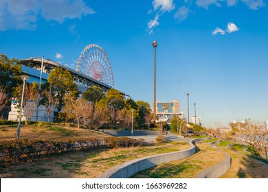Evening view of ferris wheel and train from Mizunohiroba seaside park at Tokyo Harbor, Odaiba Artificial Island / Tokyo bay area, Aomi, Tokyo, Japan