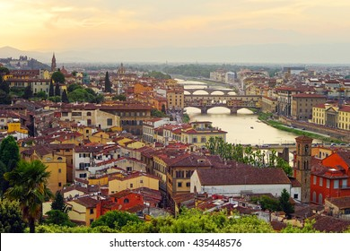 Evening view of Florence,  Ponte Vecchio (Old Bridge) and other bridges over the Arno river from Piazzale Michelangelo. Italy