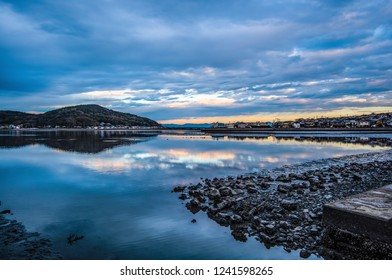 Evening view of Fukuoka east ward Zuibaiji river estuary landscape HDR picture