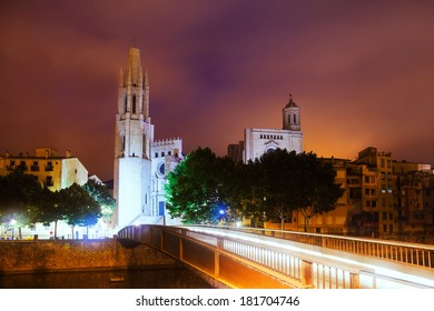 Evening view of Girona - Collegiate Church of Sant Feliu and Gothic Cathedral. Catalonia, Spain