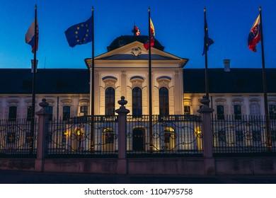 Evening view of Grassalkovich Presidential Palace in Bratislava city, Slovakia