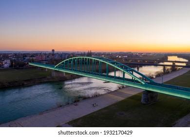 Evening view of The Hendrix Bridge in Zagreb, Croatia. The Bridge Illuminated with Lights.