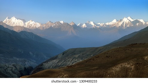Evening view of hindukush or hindu kush mountain ridge, Tahikistan and afghanistan, view from Pamir highvay or pamirskij trakt
