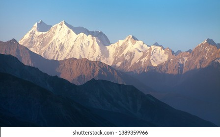 Evening view of hindukush or hindu kush mountain ridge, Tahikistan and afghanistan, view from Pamir highvay or pamirskij trakt