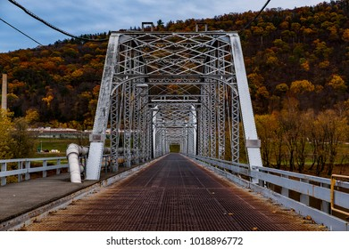 An evening view of the historic Retreat through truss bridge in the Appalachian Mountains of Luzerne County, Pennsylvania.