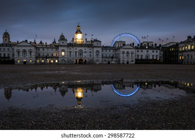 Evening view of Horse Guards palace and the London Eye in London