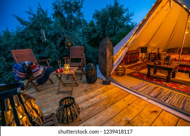 evening view with indian glamping tent 3