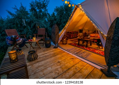 evening view with indian glamping tent 4