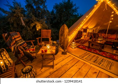 evening view with indian glamping tent 1