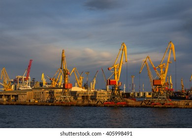 evening view of the industrial sea port with docks and cranes