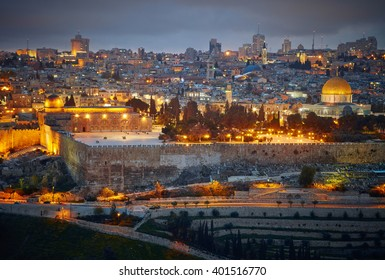 Evening view to Jerusalem old city. Israel