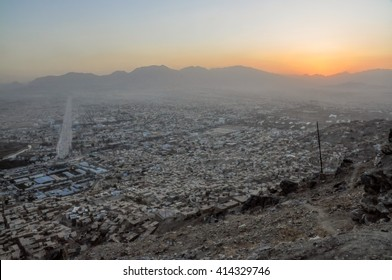 Evening view of Kabul in Afghanistan with sunset