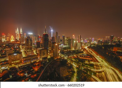 Evening view of Kuala Lumpur City in Malaysia. Photo dated June 14, 2017.
