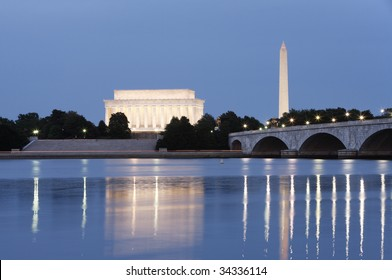 Evening view of the Lincoln Memorial and Washington Monument reflected in the Potomac River.