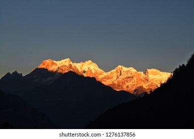 An evening view of Manaslu mountain from the Timang village on the Annapurna Circuit trek, Himalaya, Nepal, Asia.