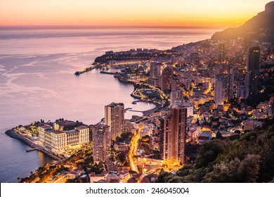 Evening view of Montecarlo, Monaco, Cote d'Azur, Europe