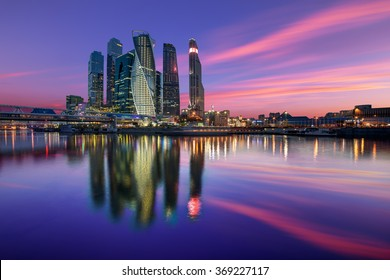 Evening view of the Moscow City
