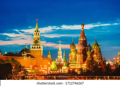 Evening view of the Moscow City. Beautiful cityscape view of the night Kremlin and St. Basil's Cathedral