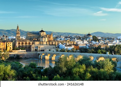 evening view of Mosque-Cathedral and Romano Bridge, Cordoba,Spain