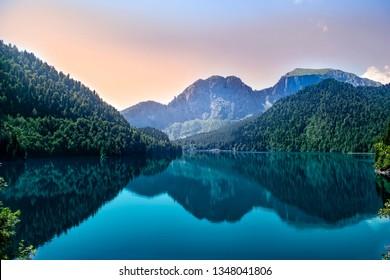 Evening view of the mountain lake Ritsa in Abkhazia