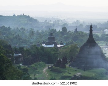 Evening view of Mrauk U, the ancient temple city in the Rakhine State of Myanmar.