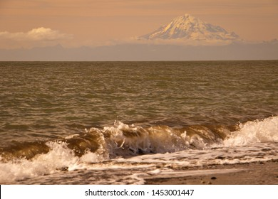 Evening view of Mt. Redoubt volcano from Kenai, Alaska