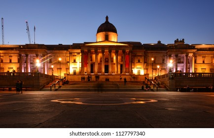 Evening view of the National Gallery at Trafalgar Square, London, United Kingdom