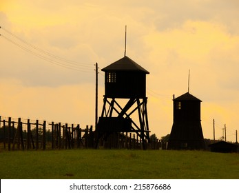 Evening view od tower silhouettes of concentration camp in Majdanek (Poland)