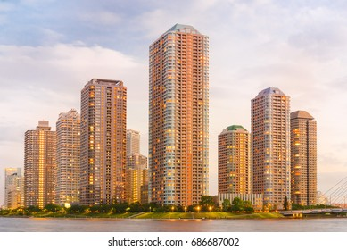 Evening View of Office Buildings and Highrise Mansion in Tokyo