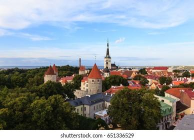 Evening view of old city, Tallinn, Estonia