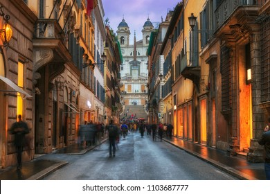 Evening view of old cozy street near Spanish Steps in Rome, Italy.  Night cityscape of Rome.
