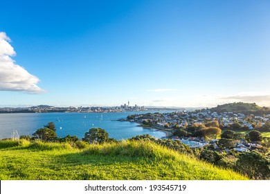 Evening view on Auckland Central, Waitemata harbor and Devonport district. New Zealand