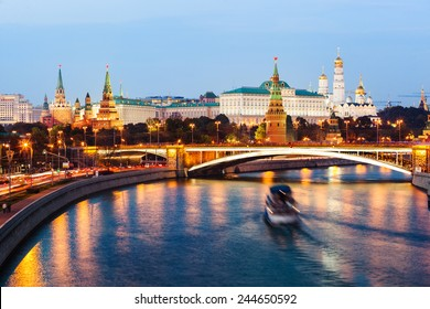 Evening view on Moscow Kremlin at sunset