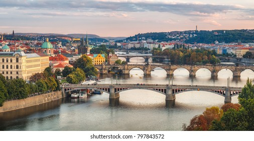 Evening view on Prague from Letenske sady, The capital of Czech