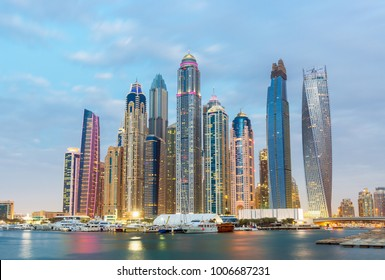 Evening view on skyscrapers and luxury  in Dubai Marina, Dubai, United Arab Emirates