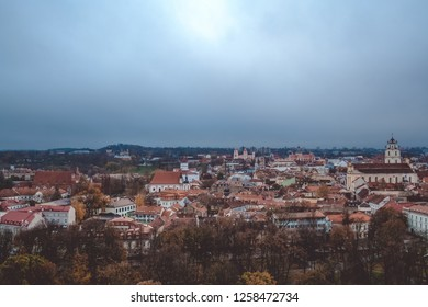 Evening view on Vilnius from remaining part of the Upper Vilna Castle, near Gediminas' Tower, Lietuva (Lithuania). October 23, 2018.