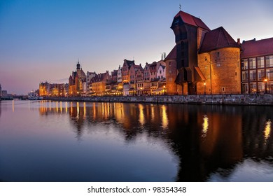 Evening view over the river Motlawa the Old Town in Gdansk, Poland.