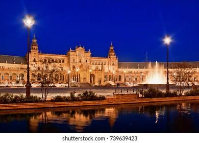 Evening view of Plaza de Espana. Seville, Spain