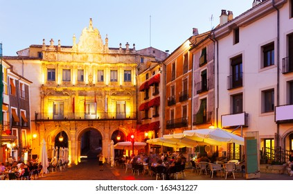 Evening view of Plaza Mayor in  Cuenca.  La Mancha,  Spain