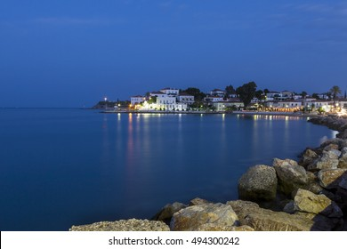 Evening view of the port of Spetses, at Spetses island, in Argosaronic gulf, Greece.
