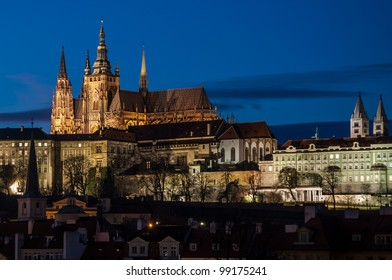 Evening view of Prague Castle over Vltava river, Czech Republic