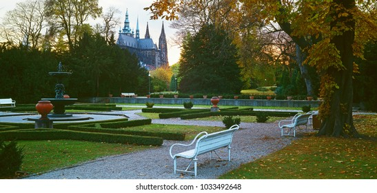 Evening view to Prague Castle from Royal garden