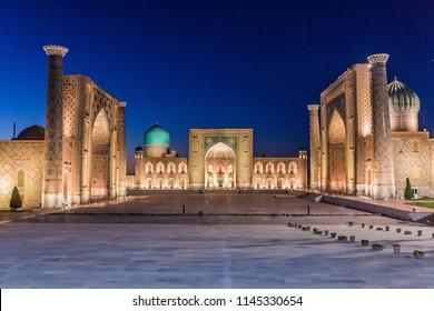 Evening view of Registan Square, famous complex in Samarkand, Uzbekistan