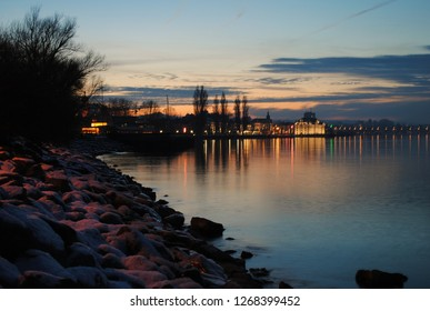 Evening view of Rorschach at sunset on the shores of lake, Bodensee, Schweiz
