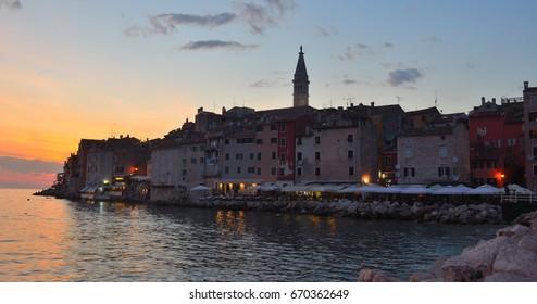 Evening view of Rovinj old town  peninsular  with the Church of St. Euphemia  on the Adriatic Coast  Line Istria Croatia.