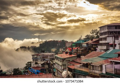 Evening view of Shimla - the capital of Indian state Himachal Pradesh. Shimla, Himachal Prades, India