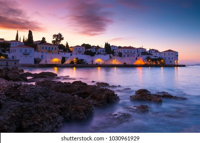 Evening view of Spetses village from the beach, Greece.