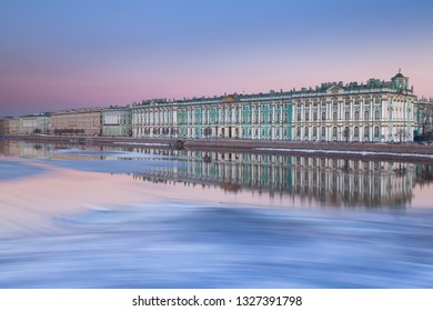 Evening view of the the State Hermitage Museum in St. Petersburg during spring ice drift