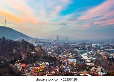 Evening view of Tbilisi with Narikala Fortress, Georgia