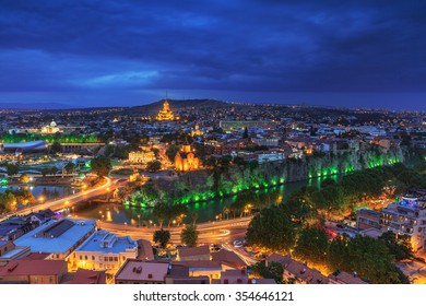 Evening view of Tbilisi from Narikala Fortress, Georgia